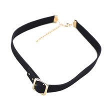 2017 Korean Leather Strap Necklace Chokers Women Gold Color Statement Necklace Ladies Link Necklace Jewelry(China)