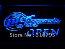030 Miller Lite Time Live Beer OPEN LED Neon Light Sign Wholesale Dropshipping On/ Off Switch 7 colors DHL