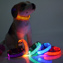 Hot Selling Leopard Spots Luminous Led Fluorescent Dog Collar Pet Supplies Anti-lost Size S-XL