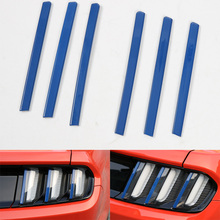 YAQUICKA 6pcs/set Blue Car Rear Tail Light Lamp Decoration Bar Strip Styling Trim Fit For Ford Mustang 2015 2016 Stickers ABS(China)
