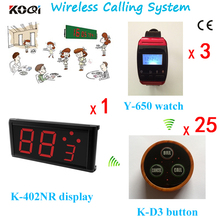 Ycall Newest Restaurant Waiter Buzzer System 1 Panel , 3 Electronic Waiters Watch and 25 Guest Button Colorful Freeshipping