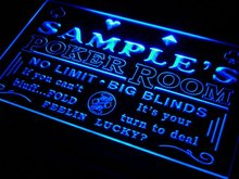 pd-tm Name Personalized Custom Poker Casino Room Beer Bar Neon Sign with On/Off Switch 7 colors