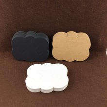 Free Shipping 400PCS Blank Kraft Paper Hairpin Card Hair Clip Scalloped Jewelry Cardstock Hair Display Cards Accept custom logo