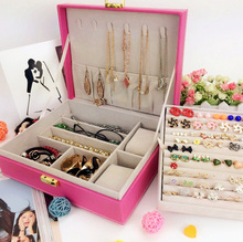 Practical Elegant Necklace Bracelet Ring Case Jewelry Gift Storage Box Jewel Case 5 color Free Shipping