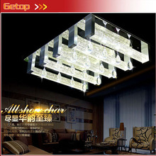 ZX K9 Crystal Rectangle Ceiling Lamp Bubble Crystal Column Lamp GU10 LED Bulbs Fixtures Lustres Restaurant Livingroom Lighting