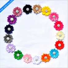 120pcs/lot 5cm 17 Colors Hair Clips Mini Satin Ribbon Flowers With Rhinestone Button Artificial Fabric Flowers For Headbands(China)