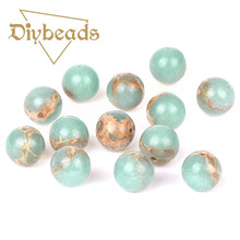 Top Light Blue Imperial Pine Turquoise Beads Round Loose Natural Stone Bead Ball 4/6/8/10/12/14MM Jewelry Bracelet Making DIY