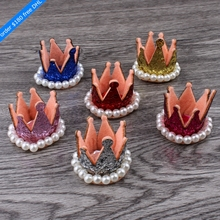 120pcs/lot 6colors Hair Clips 3D Felt Crown Flower For Kids Hair Accessories Glitter Non-woven Tiaras For Craft Hair Ornaments