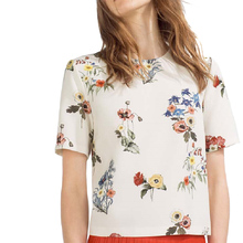 women sweet floral print loose shirts o neck short sleeve blouse European style ladies summer fashion casual tops DT544
