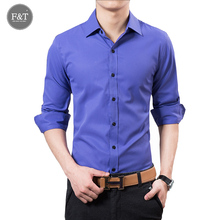 [Asian Size] Uyuk 2016 New Korean Style Fashion Pure Color Men Shirt Male Slim Fit Solid Long Sleeve Men Shirts 9 Colors M-5XL
