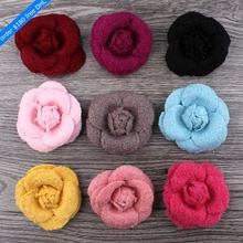 120pcs/lot 5.5cm 9colors Hair Clip Wool Felt Rose Flower For Girls Apparel/Hair Accessories Handmade Fabric Flowers For Headband(China)