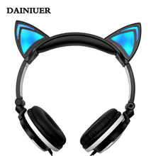 Foldable Flashing Glowing Earphone Cat Ear Headphone with LED Light For Laptop Computer Mobile Phone as kids gifts