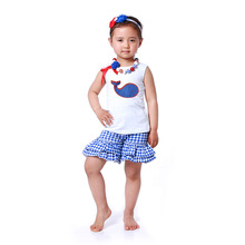Child Clothes Wholesale Children's Boutique Clothing Blue White Plaid Ruffle Short Shorts Summer Cartoon Baby Girl Clothes(China)