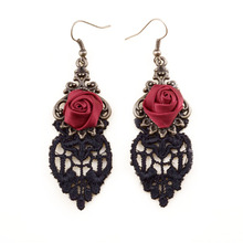 Wholesale Gothic rose drop earrings lace earrings women accessories earrings for women party accessories