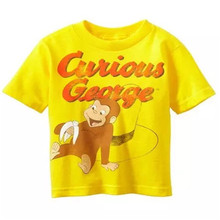 2T 3T  4T  5T Retail 1 piece Free shipping boy clothing curious george yellow  short sleeve t shirt top summer Tee