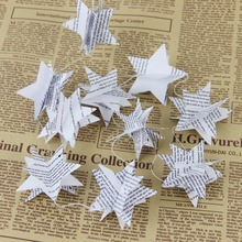 1.75m Recycled Book Garlands Newspaper Stars Garland Bunting Party Holiday Christmas Nursery Banner Wedding Garland Decoration(China)