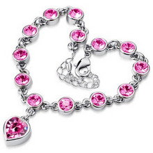 Hot Selling Fashion Full Crystal Shining Jewelry Cubic Zircon Sweet Peach Heart Gold/Sliver Women Girls Bracelet