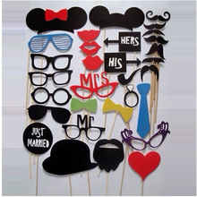 NEW 2016 Mustache Lip Glass Mask for Fun Favors Photobooth Photocall Wedding Photo Booth Props Party Decorations Supplies 31pcs