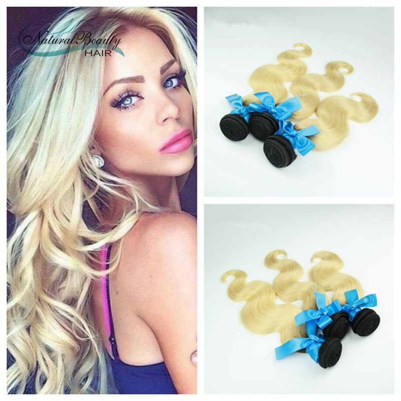 Peruvian Virgin Hair Body Wave 3Pcs/Lot 1B 613 Ombre Human Hair Extensions Two Tone Blonde Ombre Hair Bundles Free Shipping<br><br>Aliexpress