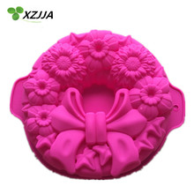 Cute Pink Bow Silicone Mould Kitchen Accessories Bakeware Round Cake Pan DIY Creative Cake Decoration Mold Kitchenware