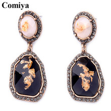 Black geometric stone pendants brincos decoration earrings for women pendientes accesssories boucle d'oreille vintage earring(China)