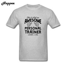 Casual Male Tees Shirt Tops Awesome Personal Trainer Looks Like T-Shirt Men 100% Cotton Plus Size Exercise T Shirts