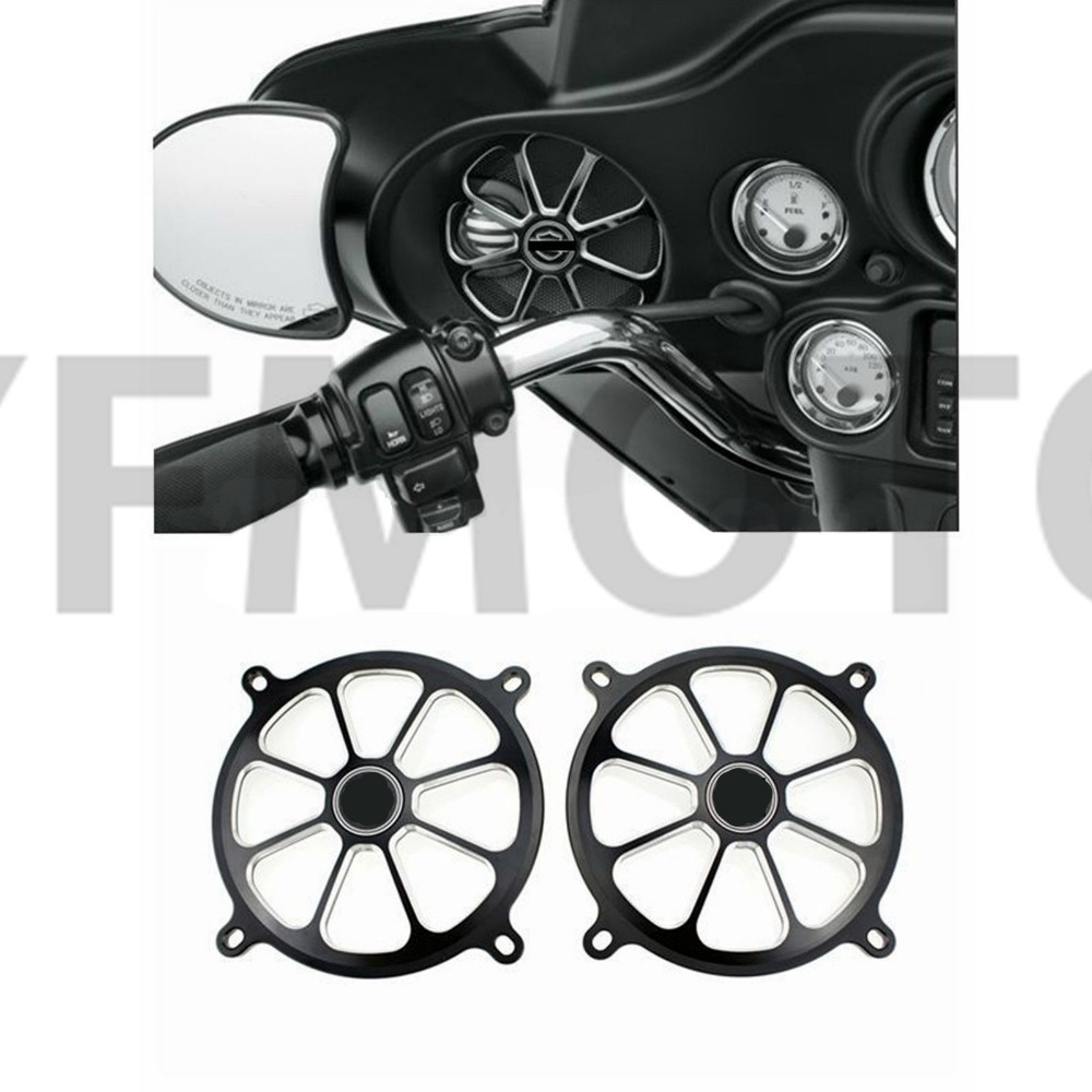 Black CNC Audio Fairing Mount Speaker Grill Cover For Harley Electra Glide Classic FLHTC 2007-2013 08 09 10 11 12<br>