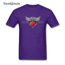 2017 Summer Purified Cotton Man Bon Jovi Tee shirts Cheap Sale Men Short Sleeve T Shirts Many Colors Avaliable Man Rock Tees(China)