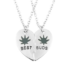 Good Friends Leaves Chain Best Buds Women Pendant Necklace Two Can Be Stitching Love Friendship Women Man Necklace