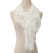 Women Lace Cape Scarf 0071 Ultra Long Milk Silk Tassel Cutout Crochet Cashers Three-dimensional Bohemia Flower  Scarves Shawls
