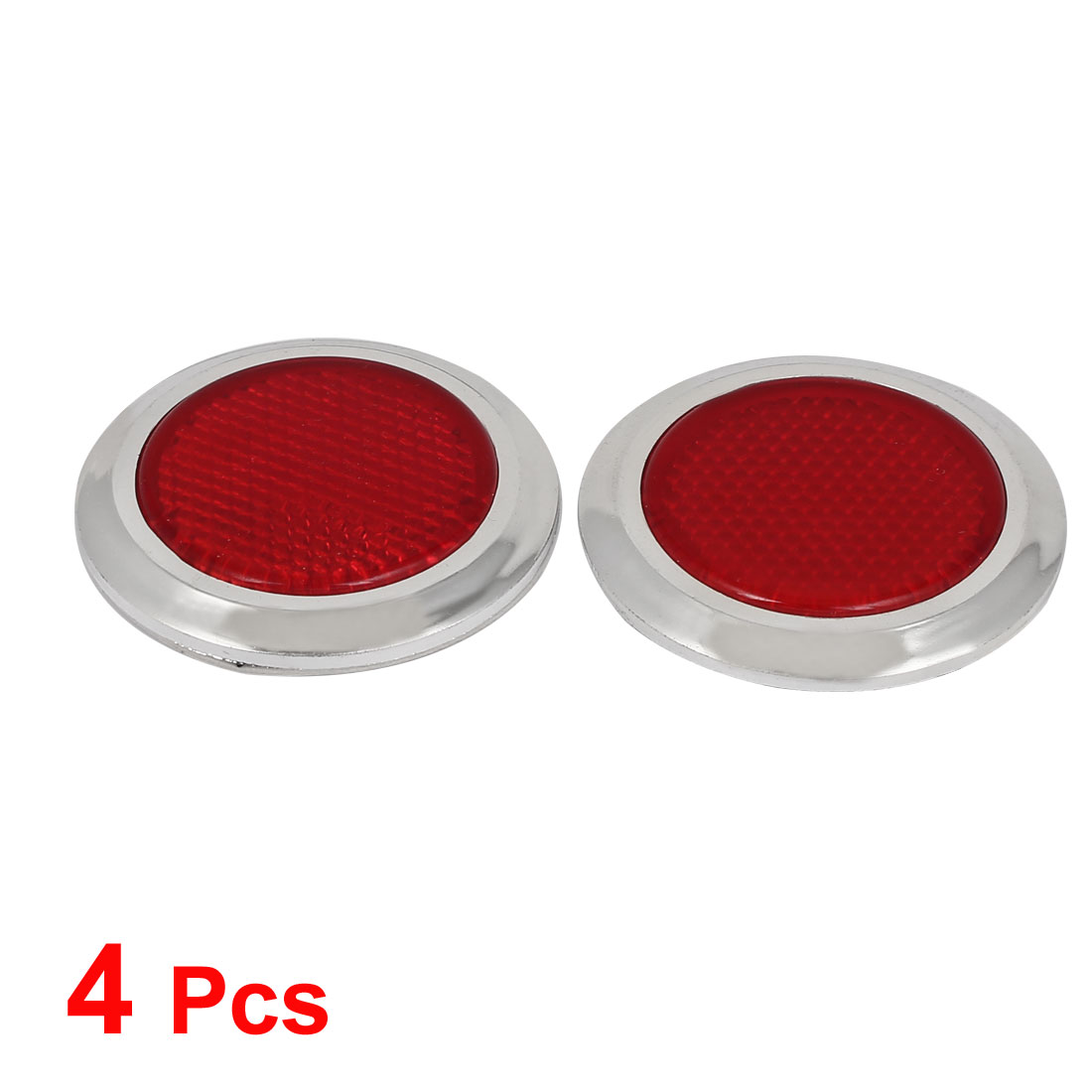 4x Red Car Motorcycles Reflective Sticker Reflector Round Chrome Self Adhesive