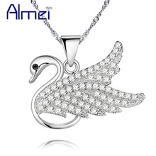 Almei 15%Off Cute Animal Swan Necklace Women Pendants Silver Rhinestone Necklaces & Pendants Collares Choker Bijoux Gifts PN4356