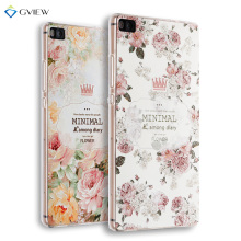 Super 3D Relief Printing Clear Soft TPU Case For Huawei P8 5.2 inch Phone Back Cover Ultra-thin Shell Free Ring Holder Film