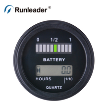Battery Fuel Gauge Indicator with hour meter for DC powered equipment such as fork lifts, golf carts, floor care equipment