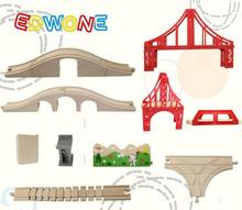 Thomas and Friends -- Thomas Wooden Train Track Railway Accessories Red Big Size Rainbow Bridge S Track Bridge Pier T track(China)