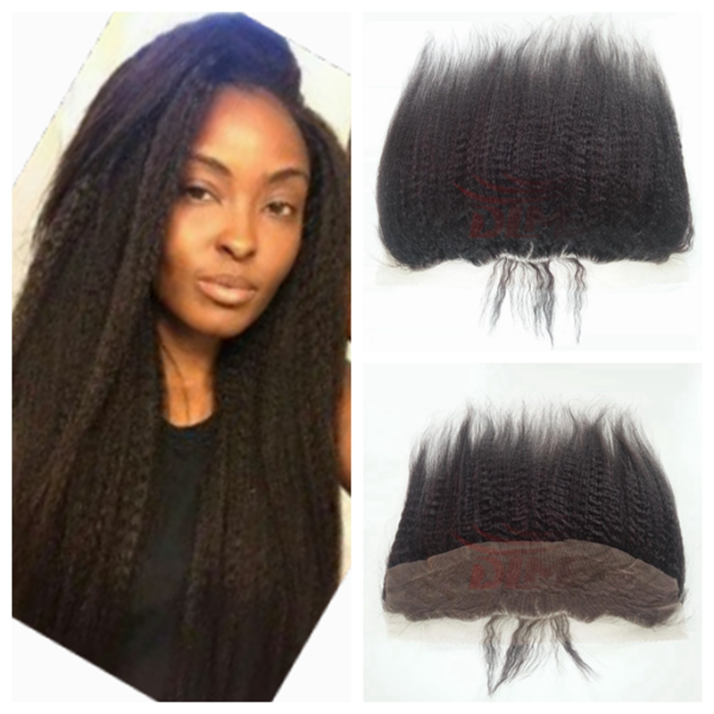 Virgin Peruvian Lace Frontals With Baby Hair Afro Kinky Straight Italian Coarse Yaki 13x4 Ear To Ear Full Lace Frontal Closure<br><br>Aliexpress