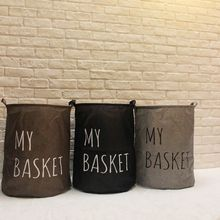 50*45CM Foldable Cotton Linen laundry bag waterproof folding storage basket House Container Stackable Cloth organizer,S3080(China)