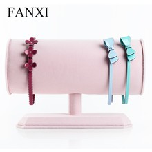 2016 FANXI large size ''T'' bar jewelry headbands/hairpin display wrapped with ice velvet stand for jewelry counter pink color(China)