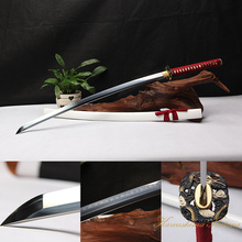 High Quality Full Handmade 1095 Carbon Steel Clay Tempered White And Red Samurai Sword Katana Sharp Edge