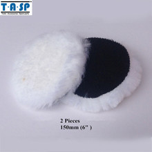 TASP 150mm Wool Polishing Bonnet Buffing Pad Hook Loop 2PC for Car Polisher(China)