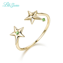 L&Zuan 14K Yellow Gold Natural Citrine Fashion Rings Green Stone Double Star Trendy Ring Fine Jewelry For Women Gift 0015-1(China)
