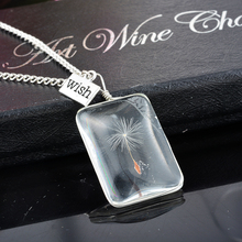 Romantic Natural Dandelion Dried Flower Perfume Bottle Shape Glass Pendant Necklace Women Ladies Girls Dry Flower Necklaces 1PC