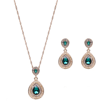 Women Fashion Luxury Waterdrop Green Rhinestone Pendant Necklace Earrings Jewelry Set