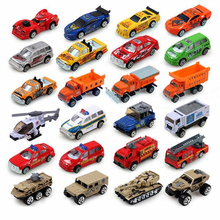 24 styles Mini Sliding Alloy Car Truck Model Children Toys Fire Engine Military Vehicles Racing Cars Rescue Helicopter 4pcs/lot(China)