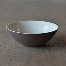 Hot Selling Round Brown Big Ceramic Bowl for Meal Delicate and Simple Home Ornament Accessories Kitchenware