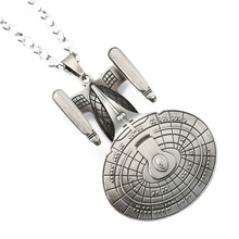 Fashion Movie Star Trek Enterprise Model Spacecraft Metal Alloy Pendant Necklace For Hot Fans Jewelry NL0458(China)