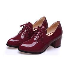New Spring fashion casual lacing Black Wine Red Patent leather thick heel single plus size women's shoes 40-47 46 45 44 43