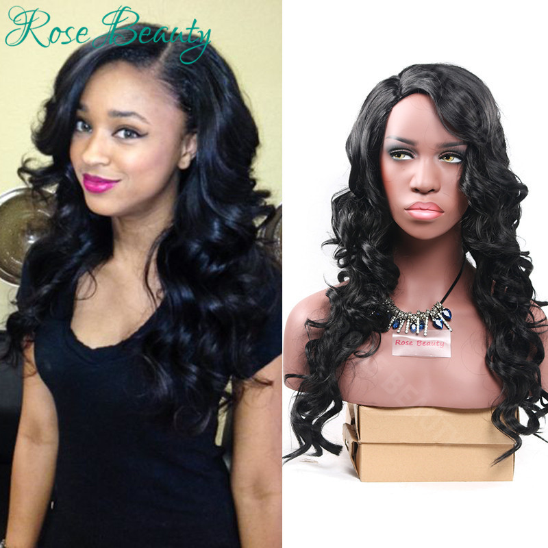 Sexy None lace wig long jet black body wave thick and full synthetic wigs African American Black Womens wig free cap and gifts<br><br>Aliexpress