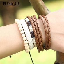 FUNIQUE Casual Vintage Leather Bracelets Men Weaved Braid Wrap Bracelets & Bangles For Male Wood Bead Bracelet Men Jewelry 3PCs
