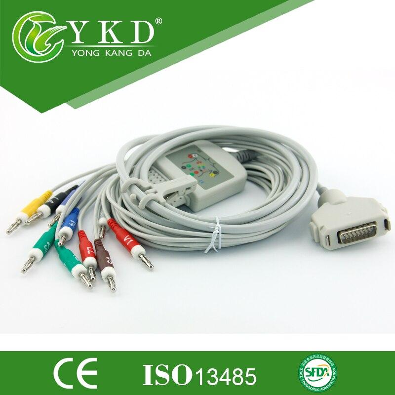 Fukuda Denshi FX-7102 ekg cable,CardiMax FX-7101,FX-7202,FX-7402,FX-2111,FCP-2155 with 10lead ecg cable,AHA,Banana 4.0<br><br>Aliexpress